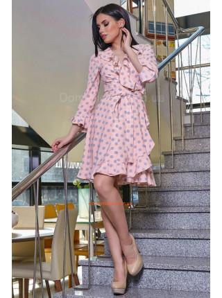 Стильное платье женское синее и розовое в горох
