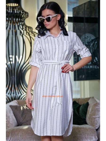 Полосатое платье рубашка белого,черного и голубого цвета