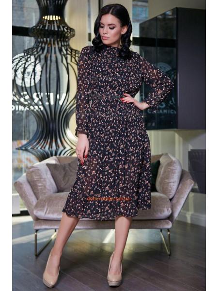 Стильное женское платье черного цвета в цветочный принт