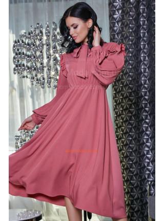 Женское платье с завышенной талией розового,голубого и горчичного цвета