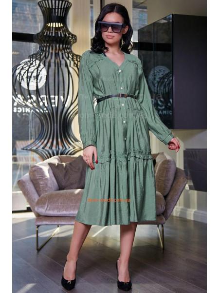Модное платье короткое с рукавом и поясом