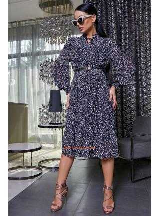 Стильное темно синее платье короткое с рукавом