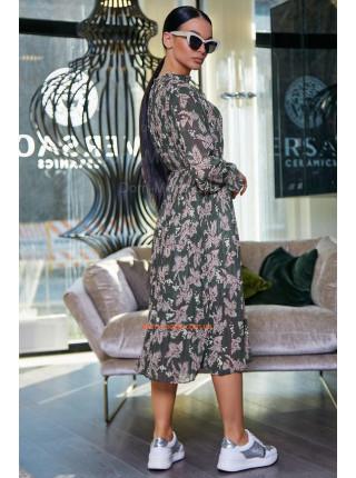 Женское платье короткое с рукавом и плиссированной юбкой
