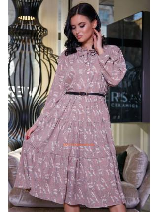 Стильна міді сукня жіноча із поясом