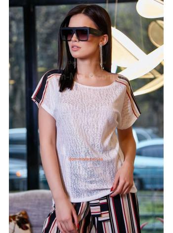Жіноча однотонна футболка із лампасами