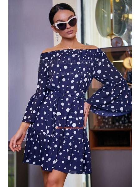 Стильне літнє плаття в горошок із рукавом