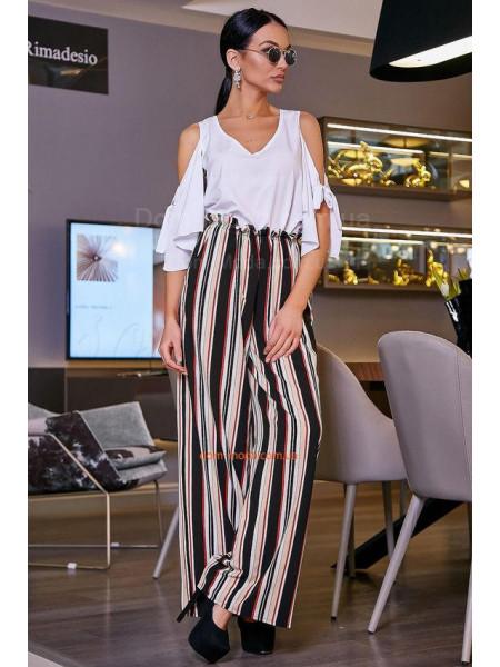 Модные женские брюки летние в полоску