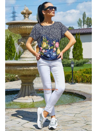 Стильна блузка із коротким рукавом в квітковий принт