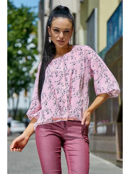 Літня жіноча блузка із рукавом в квітковий принт