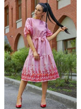 Стильне полосате плаття із пишним рукавом
