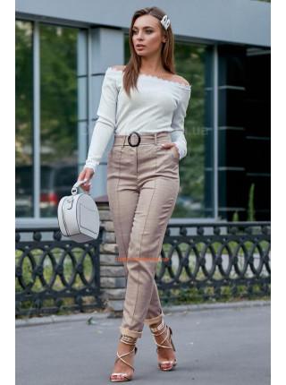 Женские льняные брюки с завышенной талией