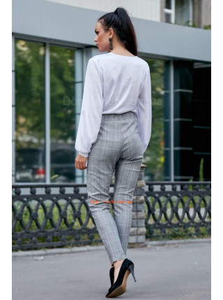 Женский серые брюки с высокой талией