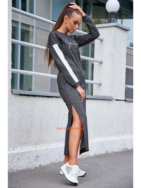 Женское длинное платье с разрезами для полных
