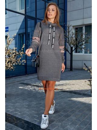 Коротке тепле плаття із коміром великого розміру