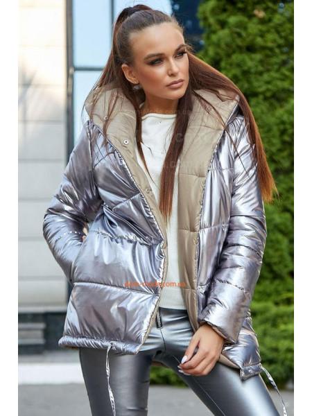 Модна зимова коротка куртка із капюшоном
