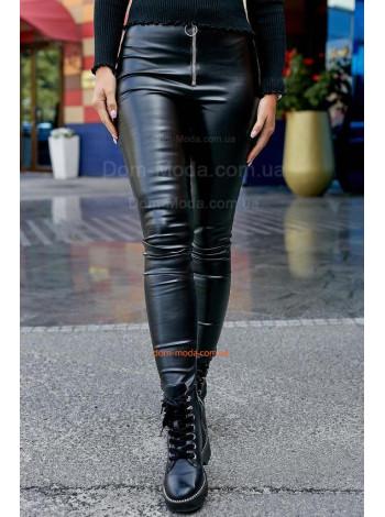 Жіночі шкіряні штани із високою талією