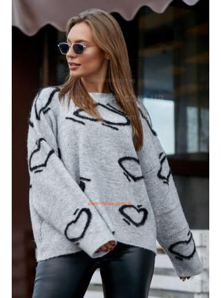 Теплий жіночий джемпер в принт із довгим рукавом