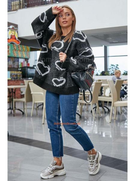 Теплый женский джемпер в принт с длинным рукавом