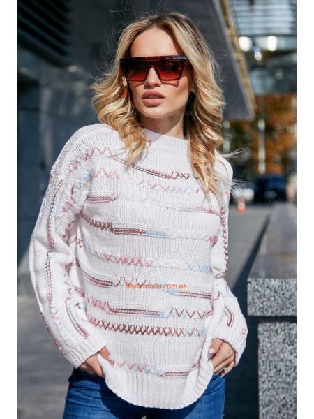 Стильный вязаный свитер с длинным рукавом