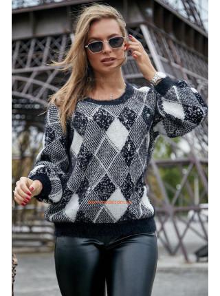 Женский стильный джемпер с объемными рукавами