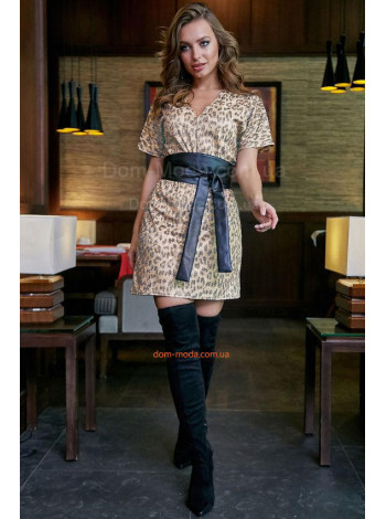 Стильное короткое платье в леопардовый принт