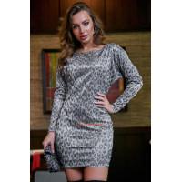 Женское короткое облегающее платье в леопардовый принт