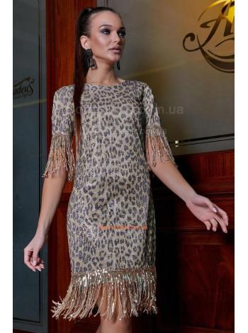 Стильное платье в принт с бахромой