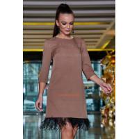 Модное вечернее платье трапеция с бахромой