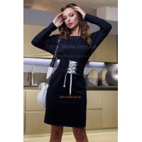 Коротке тепле плаття із корсетом