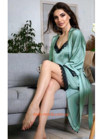 Шелковая ночнушка с халатом