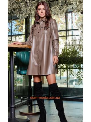 Теплое кожаное платье