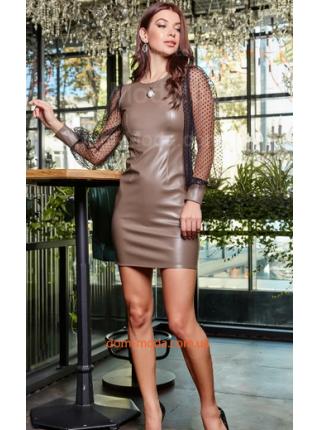 Облегающее кожаное платье