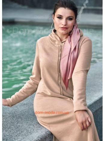 Длинное платье с капюшоном для полных