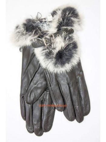 """Зимние женские перчатки с искусственным мехом """"Кожа"""""""
