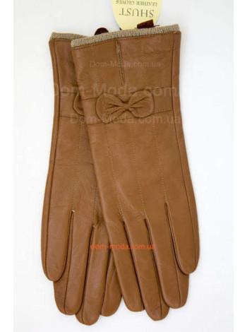 """Кожаные перчатки рыжего цвета """"Бантик"""""""