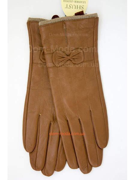 """Шкіряні рукавички рудого кольору """"Бантик"""""""