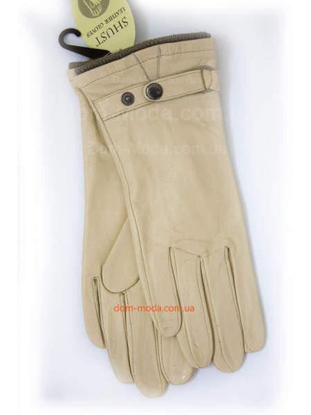Бежевые женские перчатки из натуральной кожи