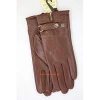 Коричневые кожаные стильные перчатки