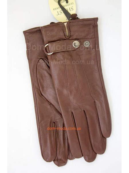 Коричневі шкіряні стильні рукавички