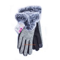 """Жіночі трикотажні рукавички з хутром """"Сенсорні пальці"""""""