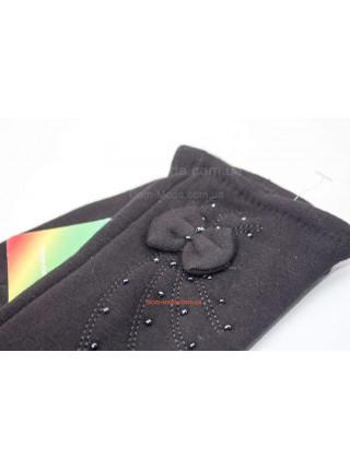 """Чорні трикотажні рукавички зимові """"Бусинки бантик"""""""
