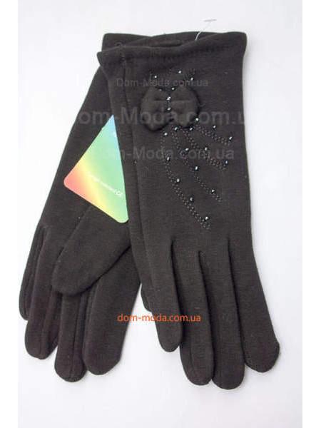 """Черные трикотажные перчатки зимние """"Бусинки бантик"""""""