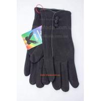 """Черные женские перчатки зима """"Три пуговки"""""""