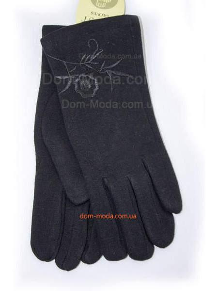 """Черные зимние перчатки для женщин """"Цветы"""""""