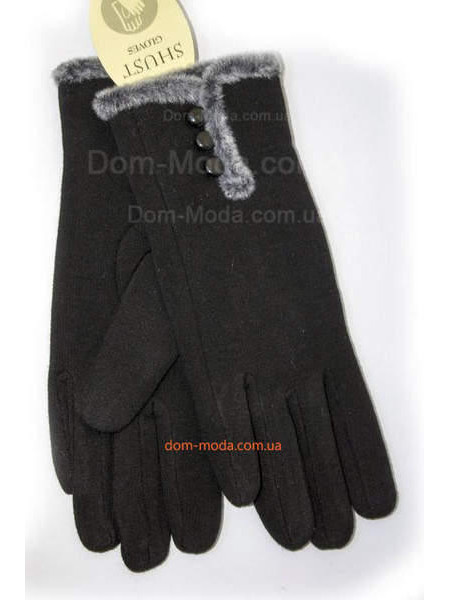 """Трикотажные черные перчатки зимние """"Мех пуговицы"""""""