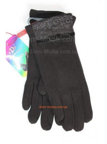 """Чорні зимові рукавички жіночі """"Варвара"""" + Кролик"""