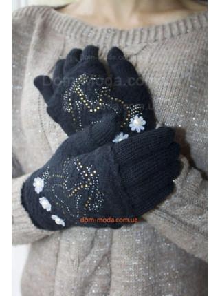 В'язані жіночі рукавички мітенки