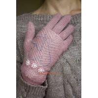 Вязаные женские  перчатки митенки