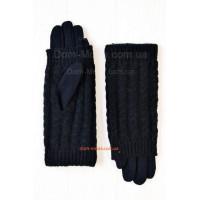 Зимові чорні рукавички мітенки