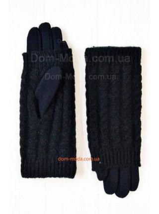 Зимние черные перчатки митенки